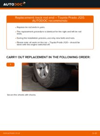 How to carry out replacement: Track Rod End on 3.0 D-4D Toyota Prado J120