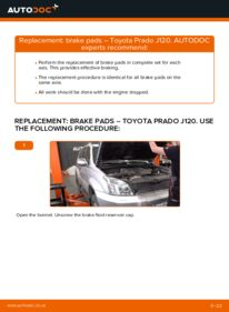 How to carry out replacement: Brake Pads on 3.0 D-4D Toyota Prado J120