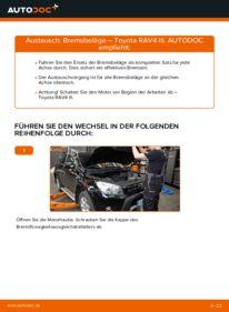 Wie der Wechsel durchführt wird: Bremsbeläge 2.2 D 4WD (ALA30_) Toyota RAV4 III tauschen