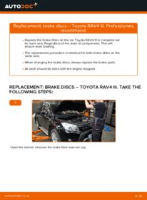How to carry out replacement: Brake Discs on 2.2 D 4WD (ALA30_) Toyota RAV4 III