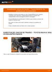 Como realizar a substituição de Discos de Travão no 2.2 D 4WD (ALA30_) Toyota RAV4 III