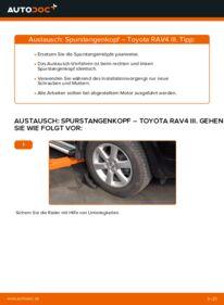 Wie der Wechsel durchführt wird: Spurstangenkopf 2.2 D 4WD (ALA30_) Toyota RAV4 III tauschen