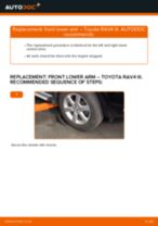 Step by step PDF-tutorial on Shock Absorber TOYOTA RAV 4 III (ACA3_, ACE_, ALA3_, GSA3_, ZSA3_) replacement