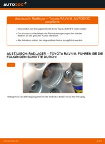 Wie der Wechsel durchführt wird: Radlager 2.2 D 4WD (ALA30_) Toyota RAV4 III tauschen