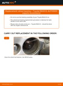 How to carry out replacement: Wheel Bearing on 2.2 D 4WD (ALA30_) Toyota RAV4 III