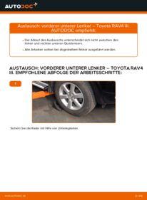 Wie der Wechsel durchführt wird: Querlenker 2.2 D 4WD (ALA30_) Toyota RAV4 III tauschen
