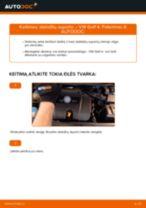 Kaip pakeisti ir sureguliuoti Stabdziu Apkabos Laikiklis VW GOLF: pdf pamokomis