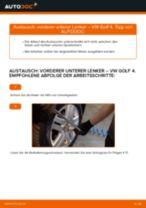 Wie VW Golf 4 vorderer unterer Lenker wechseln - Schritt für Schritt Anleitung