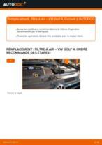Comment changer : filtre à air - VW Golf 4 | Guide de remplacement