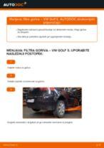 Menjava: filtra goriva >> VW Golf 5 | Priročnik