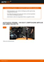 Wie Fahrwerksfedern VW GOLF auswechseln und einstellen: PDF-Anleitung