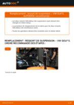 Comment changer : ressort de suspension avant - VW Golf 5 | Guide de remplacement
