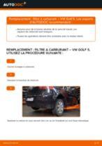 Comment changer : filtre à carburant - VW Golf 5 | Guide de remplacement