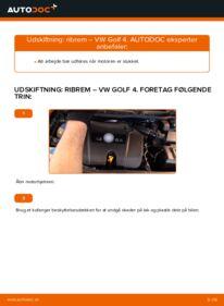 Hvordan man udfører udskiftning af: Kileribberem på 1.4 16V Golf 4