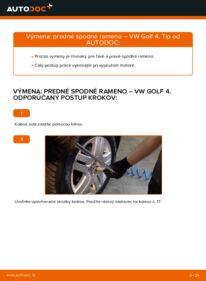 Ako vykonať výmenu: Rameno Zavesenia Kolies na 1.4 16V Golf 4