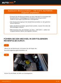 Wie der Wechsel ausgeführt wird: Bremsscheiben beim VW GOLF