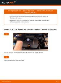 Comment effectuer un remplacement de Étrier De Frein sur 1.4 16V VW Golf IV