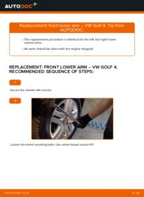 How to carry out replacement: Control Arm on 1.4 16V Golf 4