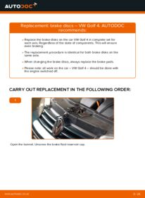 How to carry out replacement: Brake Discs on 1.4 16V Golf 4