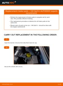 How to carry out replacement: Brake Pads on 1.4 16V Golf 4