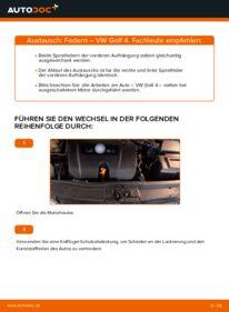 Wie der Wechsel durchführt wird: Federn 1.4 16V Golf 4 tauschen