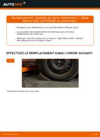 Comment effectuer un remplacement de Biellette De Barre Stabilisatrice sur 1.7 CDTI (E75) Opel Meriva A