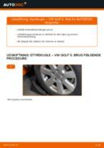 Skifte Styrekugle VW GOLF: guider online