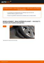 Comment changer : bras inférieur avant sur VW Golf 5 - Guide de remplacement
