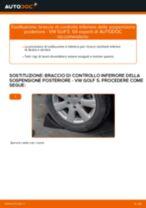 Come cambiare braccio di controllo inferiore della sospensione posteriore su VW Golf 5 - Guida alla sostituzione