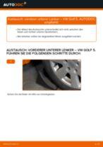 Wechseln von Dreieckslenker Instruktion PDF für VW GOLF
