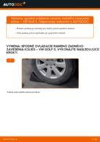 Ako vymeniť spodné ovládacie rameno zadného zavesenia kolies na VW Golf 5 – návod na výmenu