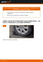 Hátsó felfüggesztés alsó vezérlőkar-csere VW Golf 5 gépkocsin – Útmutató