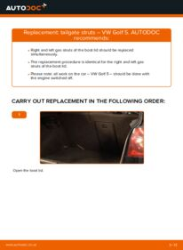 How to carry out replacement: Tailgate Struts on 1.9 TDI Golf 5