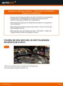 Wie der Wechsel durchführt wird: Bremsscheiben 1.9 TDI Golf 5 tauschen