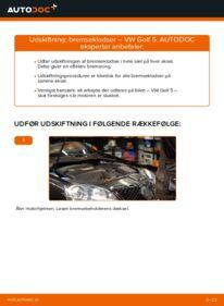 Hvordan man udfører udskiftning af: Bremseklodser på 1.9 TDI Golf 5