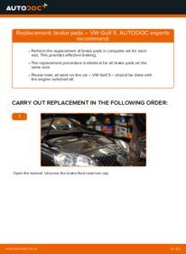 How to carry out replacement: Brake Pads on 1.9 TDI Golf 5