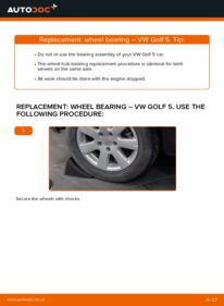 How to carry out replacement: Wheel Bearing on 1.9 TDI Golf 5