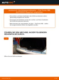 Wie der Wechsel durchführt wird: Heckklappendämpfer 1.2 60 Fiat Punto 188 tauschen