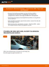 Wie der Wechsel durchführt wird: Bremsscheiben Fiat Punto 188 1.2 60 1.2 16V 80 1.3 JTD 16V tauschen