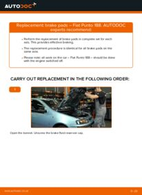 How to carry out replacement: Brake Pads on 1.2 60 Fiat Punto 188
