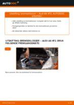 Skifte Bremseklosser AUDI A6: verkstedhåndbok