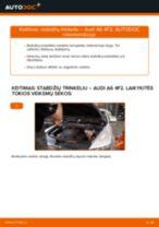 Kaip pakeisti Audi A6 4F2 stabdžių trinkeliu: priekis - keitimo instrukcija