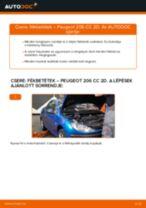 Elülső fékbetétek-csere Peugeot 206 CC 2D gépkocsin – Útmutató
