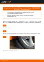 arrière et avant Bras de suspension PEUGEOT 206 CC (2D) | PDF tutoriel de remplacement