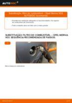 Como mudar filtro de combustível em Opel Meriva X03 - guia de substituição