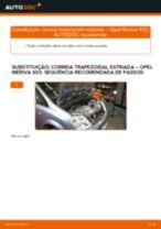 Como mudar correia trapezoidal estriada em Opel Meriva X03 - guia de substituição