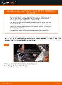 Wie der Wechsel durchführt wird: Bremsscheiben Audi A6 4f2 3.0 TDI quattro 2.0 TDI 2.4 tauschen