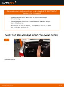 How to carry out replacement: Tailgate Struts on 3.0 TDI quattro Audi A6 4f2