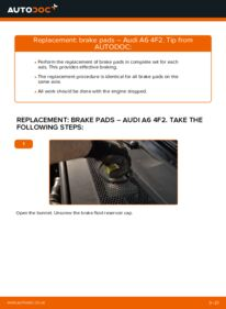 How to carry out replacement: Brake Pads on 3.0 TDI quattro Audi A6 4f2
