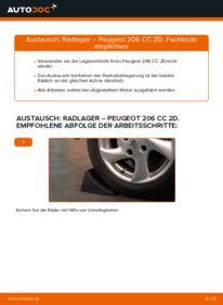 Wie der Wechsel durchführt wird: Radlager 1.6 16V Peugeot 206 cc 2d tauschen